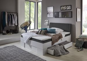 Relita Futonbett SANDRO 90 x 200 cm Liegefläche mit Polsterkopfteil, inkl. Lattenrost und Matratze, Ausführung Weiß