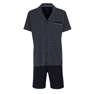 GÖTZBURG Herren Schlafanzug Set - kurz, Hemd, gemustert Marine M