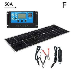 Solarpanel 100W Batterieladegerät Dual USB 12V + 50A Solar Mobile Regler Controller Ect, für Camping im Freien