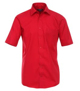 Größe 46 Casamoda Hemd Rot Uni Kurzarm Comfort Fit Normal Geschnitten Kentkragen 100% Baumwolle Bügelfrei