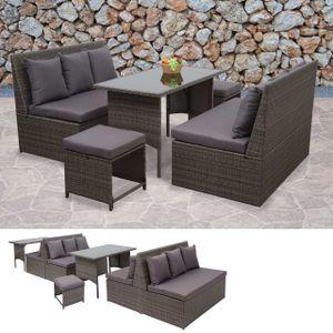 Poly-Rattan Garnitur HWC-G16, Garten-/Lounge-Set, Gastronomie 2x2er Sofa Tisch 2xHocker  grau, Kissen dunkelgrau
