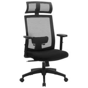 SONGMICS Bürostuhl, Schreibtischstuhl mit Netzbespannung, ergonomischer Computerstuhl, 360° Drehstuhl, verstellbare Lendenstütze, mit Kopfstütze, schwarz OBN55BK