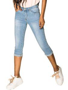 Damen Capri Jeans Shorts Stretch Skinny 3/4 Bermuda Kurze 5 Pocket Hose Weich Denim Casual , Farben:Hellblau, Größe:44