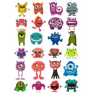 Oblique Unique 24 Monster Sticker Kinder Geburtstag Aufkleber Deko Spielspass