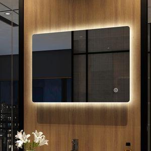 Meykoers LED Badspiegel mit Beleuchtung 70 x 50 cm, mit Touch-Schalter und Beschlagfrei, Wandspiegel Badezimmerspiegel LichtspiegelEnergieklasse A Kaltweiß Modell 09