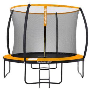 SONGMICS Trampolin Ø 305 cm, rundes Gartentrampolin mit Sicherheitsnetz, mit Leiter und gepolsterten Stangen, Sicherheitsabdeckung, Rheinland getestet, sicher, schwarz-orange STR102O01