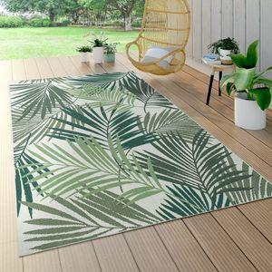 In- & Outdoor Teppich Flachgewebe Jungel Gecarvtes Florales Palmen Design Grün, Grösse:140x200 cm