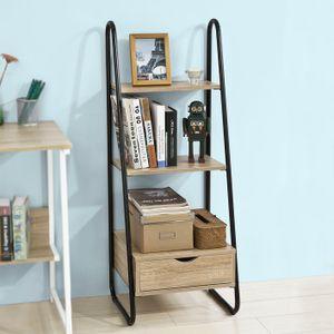 SoBuy Bücherregal,Standregal,Aufbewahrungsregal,mit 3 Ablagen und einer Schublade,FRG219-N