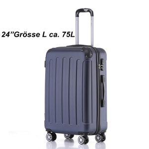 Reise Koffer Hartschalenkoffer Trolley Reisekoffer L Dunkelblau 4 Rollen Roll-Koffer Handgepäck