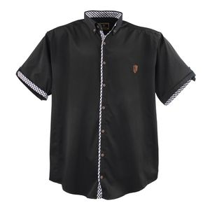 Lavecchia Herren Hemd Schwarz Große Größe, Größe:4XL