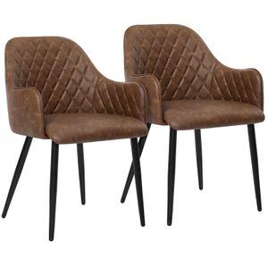 SONGMICS 2er set Esszimmerstuhl, Sessel, Polsterstuhl mit Armlehnen, Vintage, bis 110 kg belastbar, für Esszimmer, braun LDC085K02