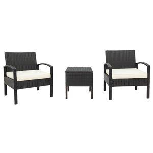 Polyrattan Gartenmöbel Balkonmöbel set -1 Tisch & 2 Sessel - für Garten, Balkon & Terrasse – inkl. Sitzkissen ,Wetterfeste ,Braun