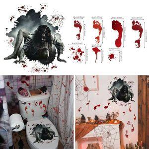 Halloween Blutige Sadako Toiletten Wandtattoo Aufkleber naturgetreu Wandsticker