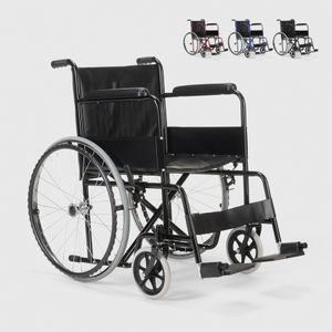 Rollstuhl Kunstleder Klapp Orthopädischer Rollstuhl Behinderte und Ältere Menschen VioletFarbe: Schwarz