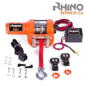 Rhino Elektrische Seilwinde 12V Stahl mit Fernbedienung und Mobilteil - 3000lb/1360kg