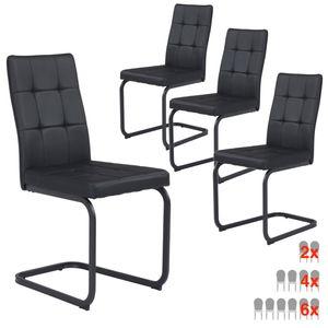 B&D home® Schwingstühle 4er set Leder schwarz vintage Freischwinger Essstuhl Essgruppe Lederstuhl Polsterstuhl