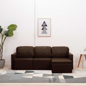 CHIC® Modulares 3-Sitzer-Schlafsofa im skandinavischen Stil|Schlafcouch Lounge Sofa Ecksofa Bettsofa Braun Kunstleder Größe:216 x 149 x 72 cm※7328