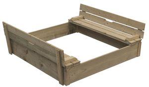 Sandkasten für Kinder Buddelkiste Sandkasten mit Sitzbank u. Abdeckung - (3961)