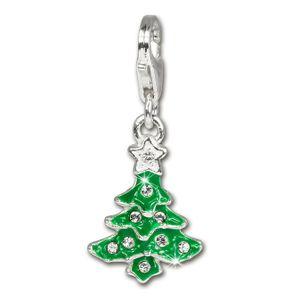 SilberDream Charm Anhänger Weihnachtsbaum Zirkonia 925 Echt Silber FC3113