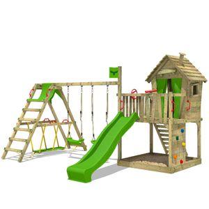 FATMOOSE Spielturm Klettergerüst DonkeyDome mit Schaukel SurfSwing & apfelgrüner Rutsche, Spielhaus mit Sandkasten, Leiter & Spiel-Zubehör