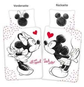 Disney Minnie Maus in love Partner Bettwäsche Kopfkissen Bettdecke Micky 140x200 cm