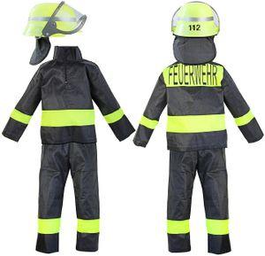 Kinder-Kostüm Feuerwehr-mann Kostüm Gr. 10 128-134 Feuerwehr-Kostüm Feuerwehr-Uniform Hose Jacke Fasching-Kostüm Karneval-Verkleidung THW Anzug zum Feuer-Löscher Feuerwehr-Helm