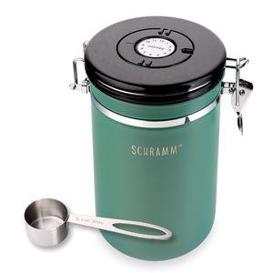 Schramm® Kaffeedose 1800 ml in 10 Farben mit Dosierlöffel Höhe: 19cm Kaffeedosen Kaffeebehälter aus Edelstahl , Farbe:Grün