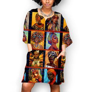 Frauen Mode afrikanischen Vintage-Druck Mittelärmel V-Ausschnitt lässig Minikleid Größe:XXXXL,Farbe:Blau