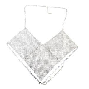 Damen Kristall BH Ketten Brustkette dreieck Bikini Kette Schmuck Strand Körper Schmuck Silber wie beschrieben