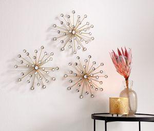 Wanddeko Kristallblüte im 3er Set, Maße: Ø 25 cm