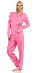 Damen Pyjama lang zweiteiliger Schlafanzug, Pink L