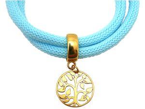 Damen Armband Wickelarmband 925 Silber Vergoldet Lebensbaum Blau