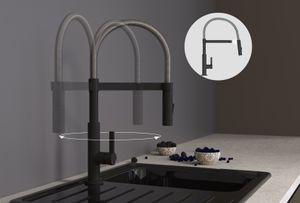 SCHÜTTE Küchenarmatur MIAMI, Spiralfederarmatur mit ausziehbarer, magnetischer Geschirrbrause, 360° schwenkbarer Auslauf, Wasserhahn Mischbatterie für die Spüle, Chrom/Schwarz matt