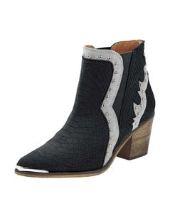 Heine Damen Leder-Cowboy-Stiefelette, schwarz-silberfarben, Größe:39