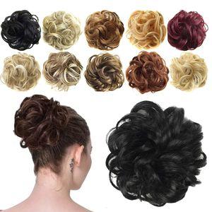 Haargummi-Haarteil, für Haarknoten/Pferdeschwanz, Haarverlängerung, gewellt, unordentlicher Haarknoten, Dutt, Hochfrisur, Haarteil