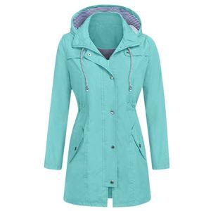 Frauen Solid Rain Jacke Outdoor Hoodie Wasserdichte Kapuze Regenmantel Winddichte Tops Größe:XXL,Farbe:hellgrün