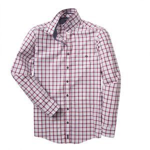 XXL Casa Moda Dobby Langarmhemd Karo weiß-rot-blau, Größe:2XL