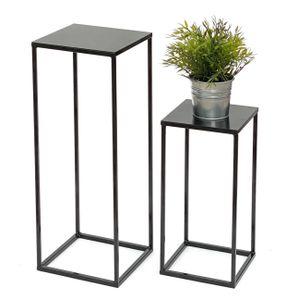 DanDiBo Blumenhocker Metall Schwarz Eckig 2er Set Blumenständer Beistelltisch 434 Blumensäule Modern Pflanzenständer Pflanzenhocker