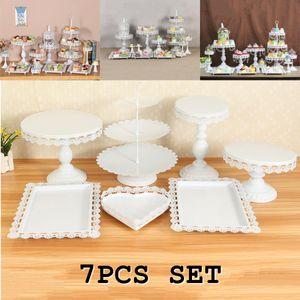 (Weiß) 7Pcs Set Kristall Metall Kuchenhalter Cupcake Stand Geburtstag Hochzeitsfeier Display