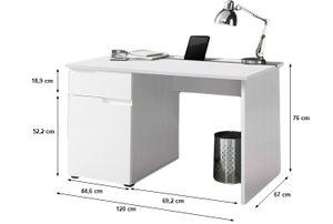 Schreibtisch weiß hochglanz B 120 cm T 67 cm Jugend Kinderzimmer PC Computer Bürotisch