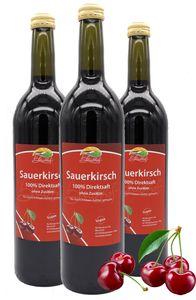 Bleichhof Sauerkirschsaft – 100% Direktsaft OHNE Zuckerzusatz und Zusatzstoffe, vegan (3x 0,72l)
