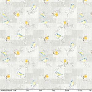 Tischdecke abwaschbar Wachstuch Vogel Grau 140x140 cm mit Saum