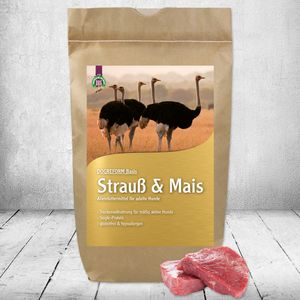 DOGREFORM Strauß & Mais hypoallergen glutenfrei Trockenfutter für Hunde 1 x 3 kg