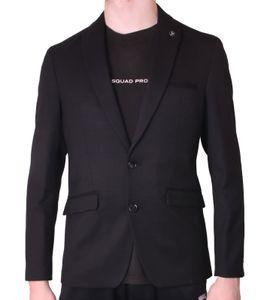 bruno banani Slim-Fit Jackett dezentes Sakko Herren 2-Knopf Anzug-Jacke mit abnehmbarem Stecker Schwarz, Größe:46