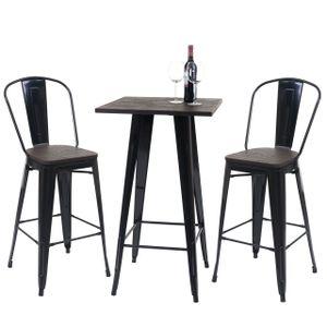 Set Stehtisch + 2x Barhocker HWC-A73 inkl. Holz-Tischplatte, Barstuhl Bartisch, Metall Industriedesign  schwarz