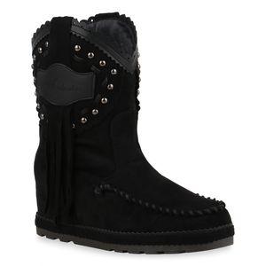 Mytrendshoe Damen Stiefeletten Schlupfstiefeletten Keilabsatz Fransen Schuhe 835548, Farbe: Schwarz, Größe: 38