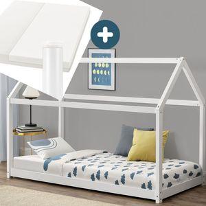Juskys Kinderbett Carlotta 90 x 200 cm mit Matratze, Lattenrost & Dach - Hausbett aus Massivholz Kiefer - Mädchen & Jungen - Bett in Weiß