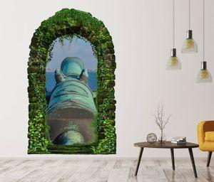 3D Wandtattoo Garten Tor Dschungel Kanone alt antik Waffe Weiler uralt Pflanzen Tür Gewölbe Wand Aufkleber Wandsticker 11FB427, Größe in cm:55cmx90cm