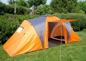 Campingzelt Loksa, 4-Mann Zelt Kuppelzelt Igluzelt Festival-Zelt, 4 Personen  orange