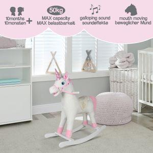 Infantastic® Schaukelpferd - Rosanes Einhorn, ab 1 Jahr, mit Soundeffekten, Kuschelweich, Holz, Plüsch, für Kinder, Baby, Designwahl - Schaukeltier, Schaukelspielzeug